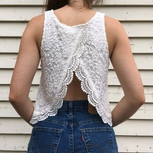 Forever 21 Lace High Neck Tank Top